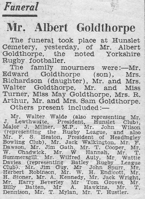 Albert Goldthorpe Funeral