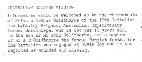 Arthur Goldthorpe typed copy of newspaper report