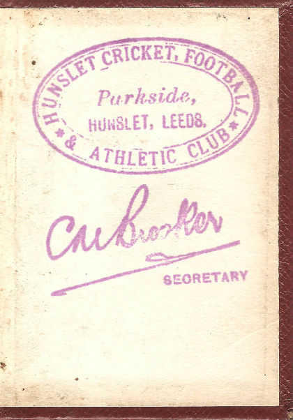 Hunslet C F and AC Membership Card