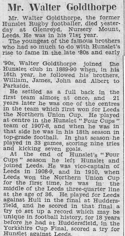 Walter Goldthorpe Tribute Yorkshire Post and Leeds Intelligencer